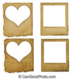Set grunge slides paper design in scrapbooking style