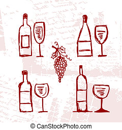 set, grunge, wineglasses, achtergrond, alcohol's, flessen