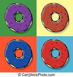 set, gruppo, colorito, scarabocchiare, illustrazione, mano, panetteria, vettore, donut., fondo, caffè, disegno, doodles