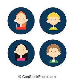 set, gruppo, persone, giovane, adolescente, icona, bambini, avatar