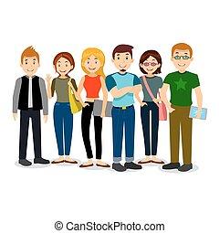set, gruppo, students., università, illustrazione, o,...