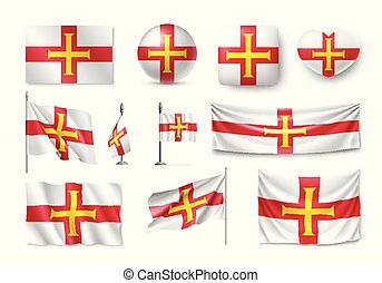 Set Guernsey flags, banners, banners, symbols, flat icon....