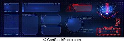 set., gui, ui, interface, hud, vidéo, sci-fi, éléments, élevé, écran, game., technologie, futuriste, utilisateur, concept, design.