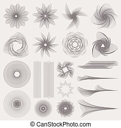 Set (collection) Guilloche pattern (watermark, borders, engravings, Tangier) for banknote, money design, currency, note, check (cheque), diploma, securities, bank note, Certificate, Diploma, Voucher, Coupon, Reward, Ticket template