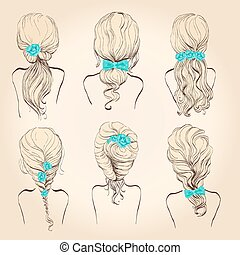 Set hair with flowers, bows in vintage style, hand drawing,...