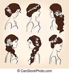 Set hair with flowers for brunettes