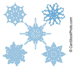 set, halftone, snowflakes., vettore