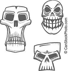 set, halloween, artistiek, schedel, iconen