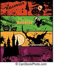 Set Halloween banners in different colors. Vector