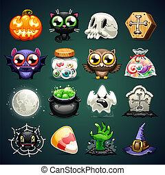 set, halloween, cartone animato, icone