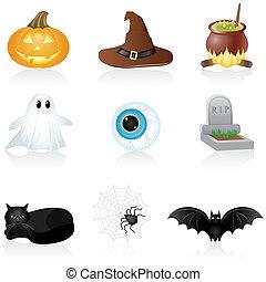 set, halloween, icona