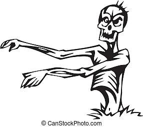 set, -, halloween, morto, vettore, illustrazione