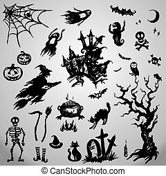 Set Halloween Objects Collection
