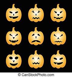set, halloween, pompoennen