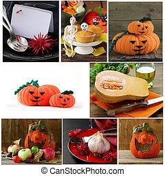 Set Halloween pumpkin, treats