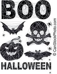 set, halloween, spidernet, pictogram