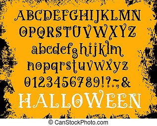 set, halloween, vettore, font, tipo, cartone animato