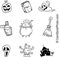 Set halloween with hand draw in doodle