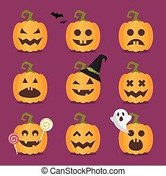 set, halloween, zucche