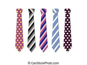 set, hals, zakelijk, banden, attire., ongedwongen