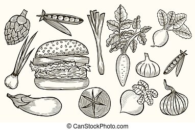 set, hamburger.