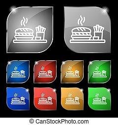 set, hamburger, tien, kleurrijke, teken., glare., knopen, vector