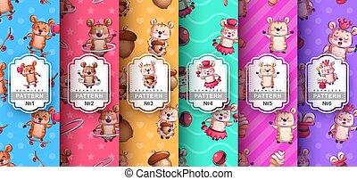 Set hamster animal seamless pattern and cartoon character