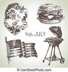 set., hand, 4, illustraties, getrokken, juli, amerika, dag, onafhankelijkheid
