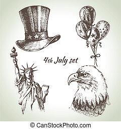 set., hand, 4, illustraties, getrokken, juli, amerika, dag,...