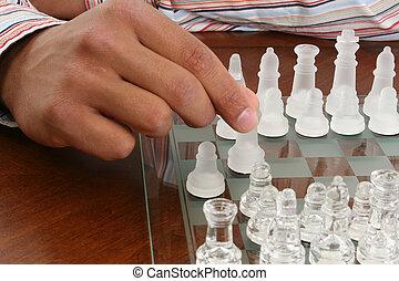 set, hand, amerikaan, schaakspel, afrikaans mannetje