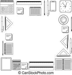 Set hand draw office tools.