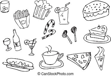 hand draw sketch of food and drink