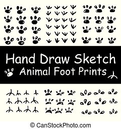 set hand draw sketch of various animal foot print, cat, dog, bird, rooster, pig, mouse etc
