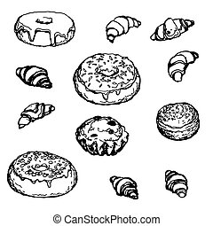 Set Hand-drawn Bakery Donut Croissant Cake
