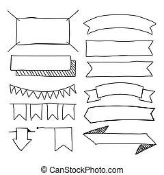 set, hand-drawn, bandiere, scarabocchiare, vettore