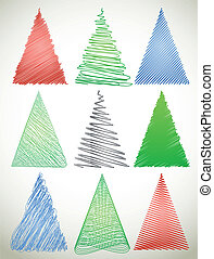 Set hand drawn christmas sribble tree. Vector
