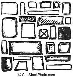 set hand drawn different shapes square, vector design element