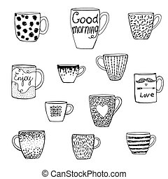 set hand-drawn doodle cups