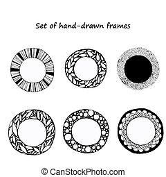 set hand-drawn doodle frames