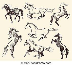 Set hand drawn horses vector illustration sketch