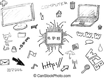 set hand drawn icons vector