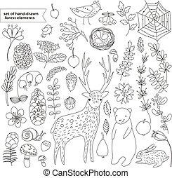 set hand drawn linear forest elemen