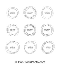 Set hand drawn ovals, felt-tip pen circles. Rough vector frame elements. Vector illustration.