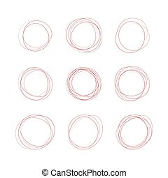 Set hand drawn ovals, felt-tip pen circles. Rough vector frame elements. Vector stock illustration.