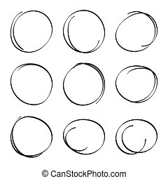 Set hand drawn ovals