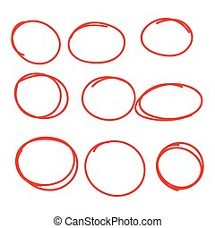 Set hand drawn ovals, felt-tip pen circles. Underlining, ...