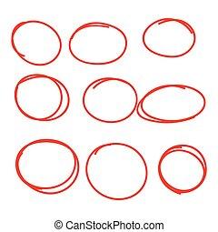 Set hand drawn ovals, felt-tip pen circles. Underlining,...