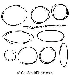 Set hand drawn ovals, felt-tip pen circles. Vector collection of scribble black frames.