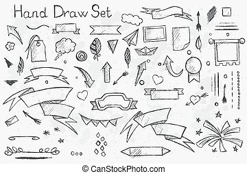 Set hand drawn pencil elements on theme of the tape - A...