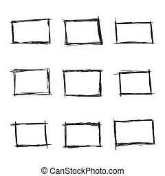 Set hand drawn rectangle